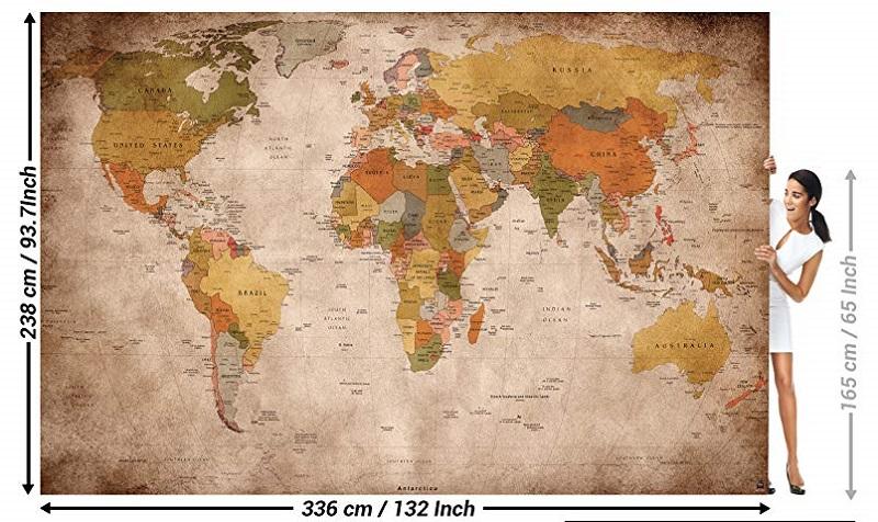 mapamundi vintage para pared
